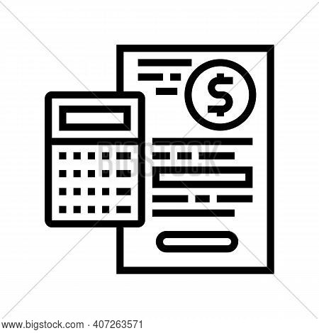 Capital Calculating Line Icon Vector. Capital Calculating Sign. Isolated Contour Symbol Black Illust