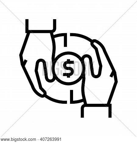 Investor Money Line Icon Vector. Investor Money Sign. Isolated Contour Symbol Black Illustration