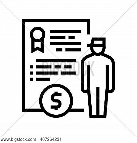 Military Personnel Allowance Line Icon Vector. Military Personnel Allowance Sign. Isolated Contour S