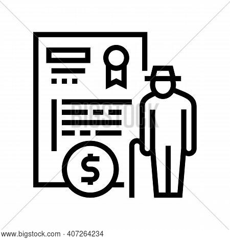 Pension Allowance Line Icon Vector. Pension Allowance Sign. Isolated Contour Symbol Black Illustrati