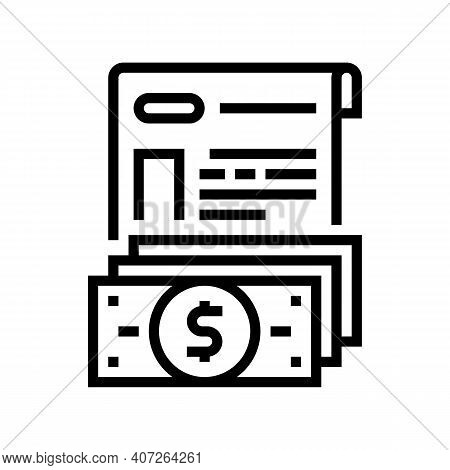 Issue Of Allowance Line Icon Vector. Issue Of Allowance Sign. Isolated Contour Symbol Black Illustra