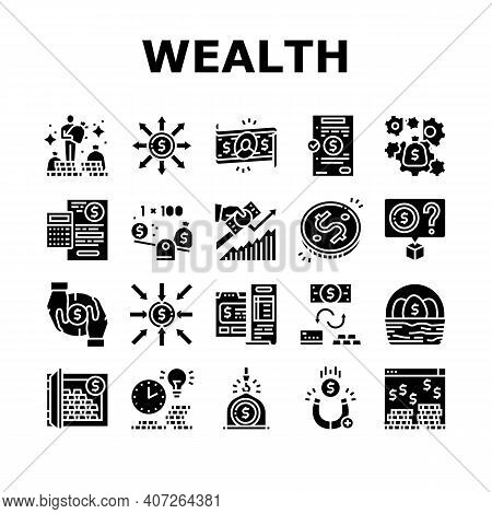Wealth Finance Capital Collection Icons Set Vector. Millionaire Money Wealth And Financial Income, B
