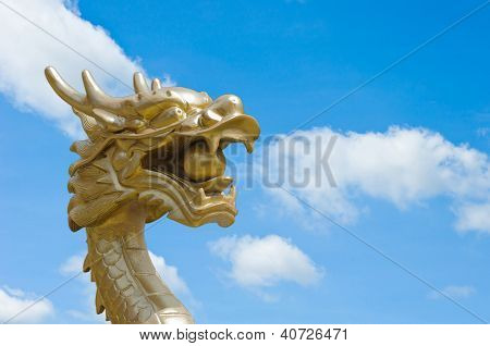 Dragon Sculpture Chinese Style On Blue Sky Background