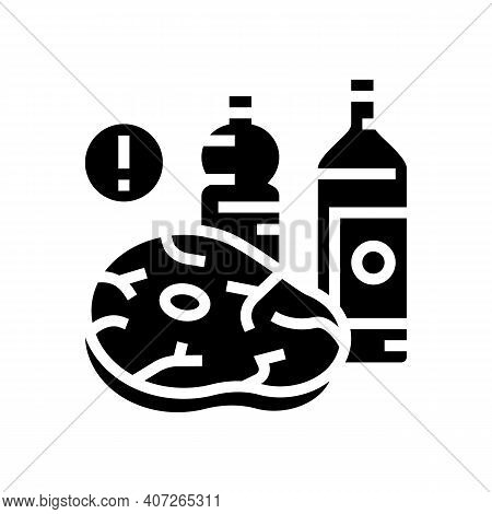 Meat, Fat Oil Unhealthy Products For Gout Disease Glyph Icon Vector. Meat, Fat Oil Unhealthy Product
