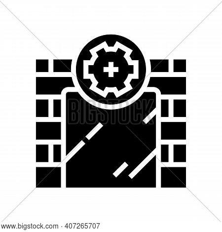 On Wall Installation Mirror Glyph Icon Vector. On Wall Installation Mirror Sign. Isolated Contour Sy