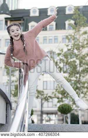 A Healthy And Happy Life. Healthy Little Child Smiling On Urban Background. Happy Small Girl Enjoy H