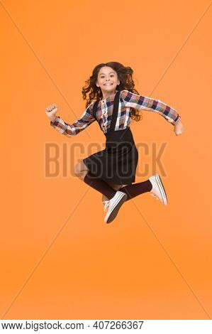 Time For Fun. Active Girl Feel Freedom. Fun And Jump. Happy Childrens Day. Jump Concept. Break Into.
