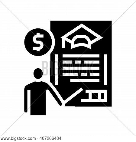 For Education Allowance Glyph Icon Vector. For Education Allowance Sign. Isolated Contour Symbol Bla