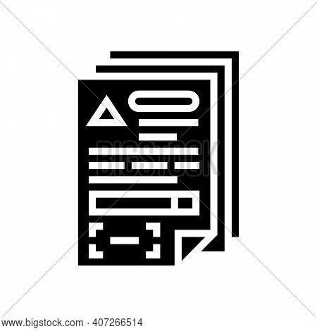Documents For Allowance Glyph Icon Vector. Documents For Allowance Sign. Isolated Contour Symbol Bla
