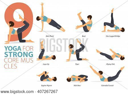 Infographic 9 Yoga Poses For Workout In Concept Of Strong Core Muscle In Flat Design. Women Exercisi