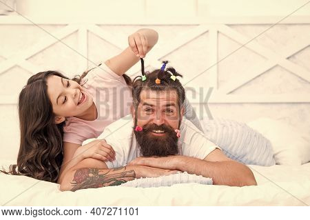 Daughter And Dad Playing Together. Hairstylist Her Future Career. Father Enjoying Time With Child. T