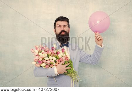 Giving Wink. Happy Bachelor Hold Flowers And Balloon. Tulip Bouquet For Dating Anniversary. Valentin