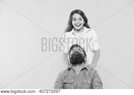 Family Barbershop. Happy Child And Bearded Man. Little Daughter And Father With Beard. Haircut And S
