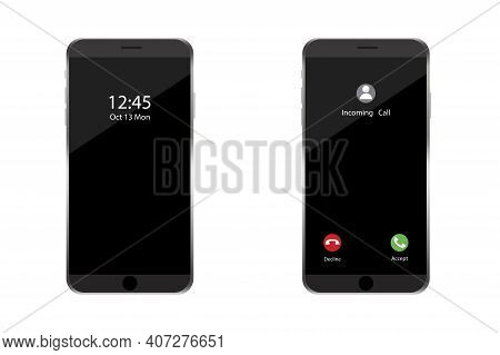 Phone Incoming Call. App Interface Template. Notification Bell Icon. Smartphone Screen. Phone Icon V