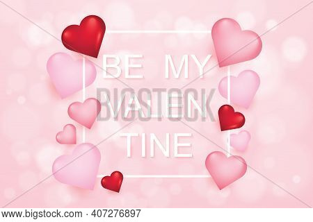 Happy Valentines Day And Weeding Design Elements. Vector Illustration. Pink Bokeh  Background With O