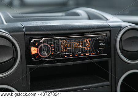 Novosibirsk, Russia - February 07 2021: Peugeot Partner, Auto Interior, Car Stereo Audio System Fron