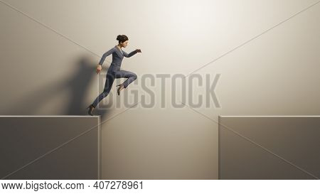 A business woman jumps over a gap. Concept symbol 3D illustration