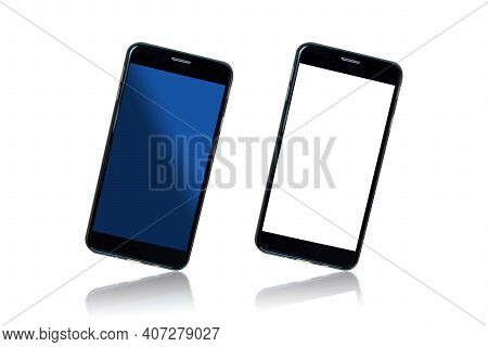 Two Modern Black Smartphones With Blank Blue And White Screens Isolated On White Background With Ref