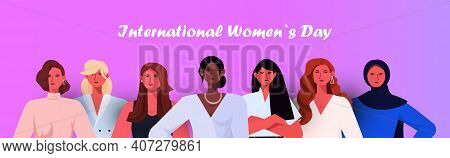 Mix Race Women Group Celebrating Womens Day 8 March Holiday Celebration Concept Portrait Horizontal