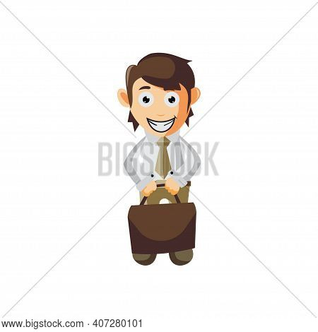 Business Man Bring Suitcase Cartoon Character Illustration Design Creation Isolated
