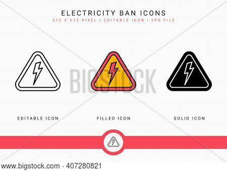 Electricity Ban Icons Set Vector Illustration With Solid Icon Line Style. Power Outage Symbol. Edita