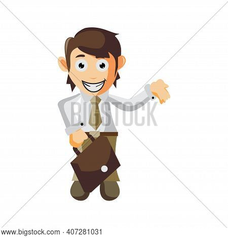 Business Man Bring Bag Cartoon Character Illustration Design Creation Isolated
