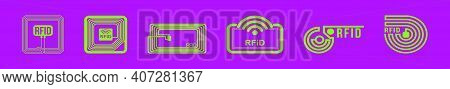 Set Of Rfid Cartoon Icon Design Template With Various Models. Modern Vector Illustration Isolated On