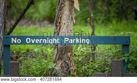 No Overnight Parking Sign In A Forest Car Park