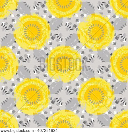 Circles, Dots, Shapes Of Different Shades Of Yellow And Gray With Some White Texture Abstract. Warmi