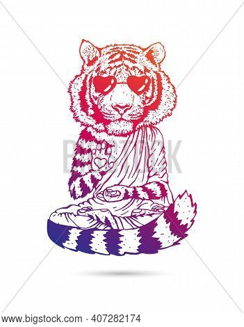 Tiger - Buddha - A Monk In Cool Sunglass. Buddhist In A Robe. A Tiger In A Lotus Position Soars Abov