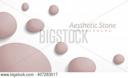 Marble Stones Vector Illustration. Aesthetic Background Design Template With Blank Space. Oval Shape