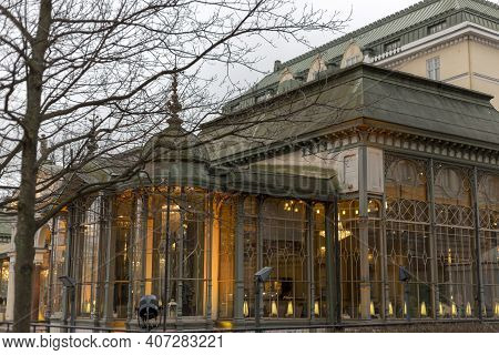 Helsinki, Finland - January 17, 2020: Fragment Of A Restaurant In The Esplanade Park In The Historic