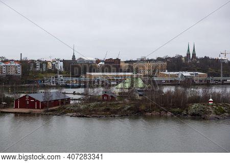 Helsinki, Finland - January 17, 2020: View Of Helsinki From A Passenger Ferry.
