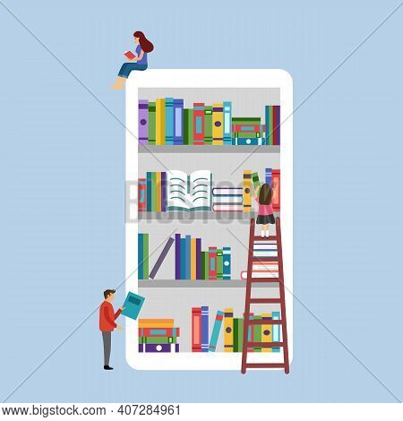 E-library On Smartphone. Man And Woman Reading Books Via Digital Library In Flat Design. E-learning,