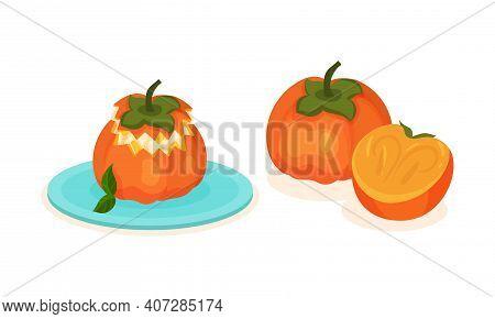 Persimmon Fruit As Fresh Juicy Dessert Food Vector Set