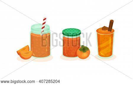 Fresh Dessert Food With Juicy Persimmon Fruit As Main Ingredient Vector Set