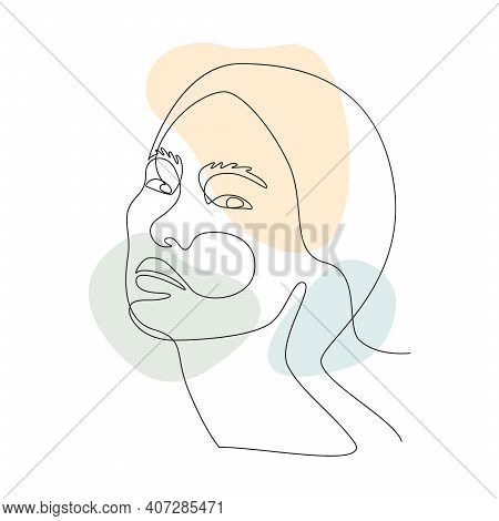 Asian Woman Face Line Art With Abstract Shapes. Elegant Continuous Line Art For Prints, Tattoos, Pos