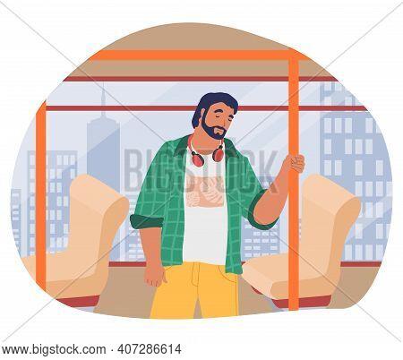 Sleepy Man Traveling By Bus, Flat Vector Illustration. Tired Commuting Passenger.