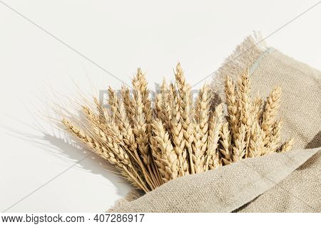 Sheaf Of Wheat Ears Close Up On White And Sack. Natural Cereal Plant, Harvest Time Concept.