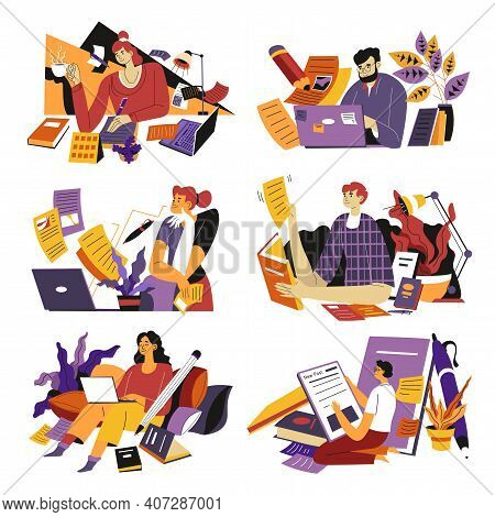 Freelancer Working As Copywriters From Home Vector