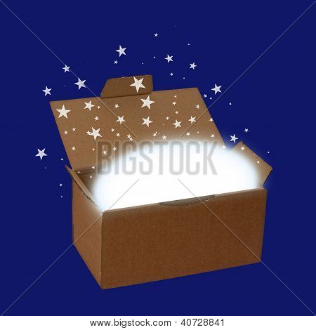 Surprise Box Or Delivery With Stars And Copyspace, Over Blue - Concept