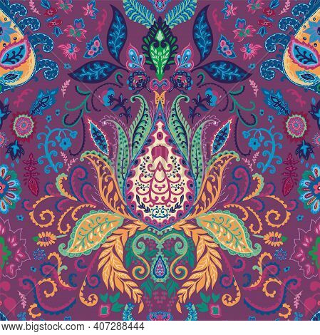 Trippy Abstract Floral Pattern With Vivid Lotus