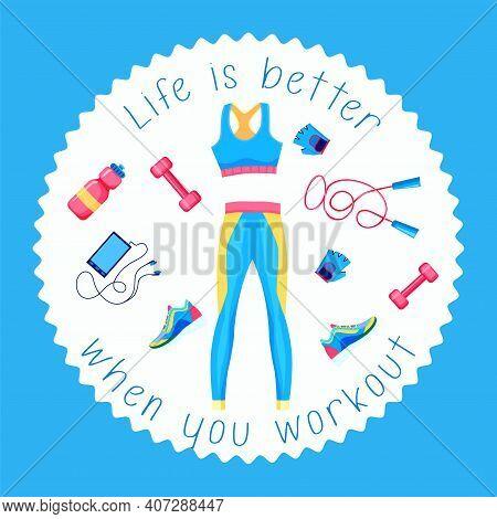 Sport Sticker. Fitness Patch Badge. Gym Equipment, Sneaker, Sport Watch, Barbell, Shaker, Bottle, Ju