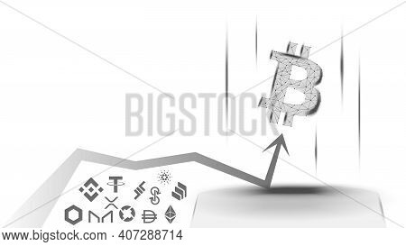 Vector Illustration Of A Concept Of The Advantage Of Bitcoin Over Altcoins On White Background. Btc