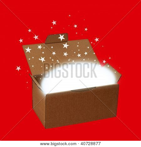 Red surprise gift box background
