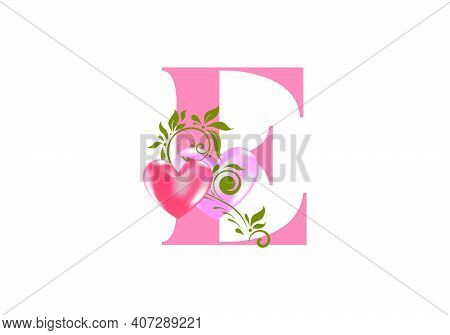Floral Alphabet, Letter E With Two Hearts. Monogram Initials For Wedding Invitations, Greeting Card