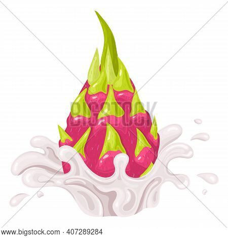 Fresh Bright Red Whole Pitaya Juice Splash Burst Isolated On White Background. Summer Fruit Juice. C