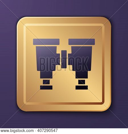 Purple Binoculars Icon Isolated On Purple Background. Find Software Sign. Spy Equipment Symbol. Gold
