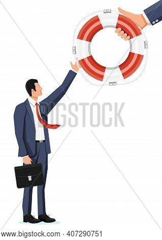 Desperate Businessman Getting Lifebuoy. Helping Business To Survive. Help, Support, Survival, Invest
