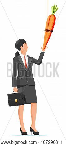 Carrot On A Stick And Businesswoman. Motivation, Stimulus, Incentive And Reaching Goal Concept Metap